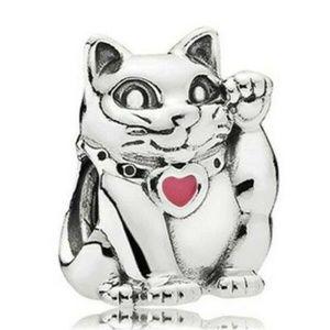 Silver Cat Charm Fit European Bracelet